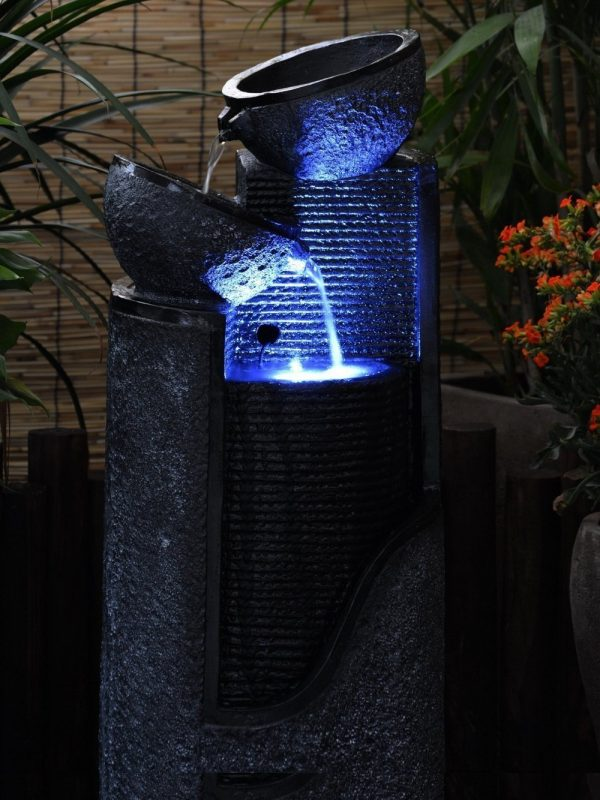 style solar stone pillar and bowls water feature waterfeatures2go medium