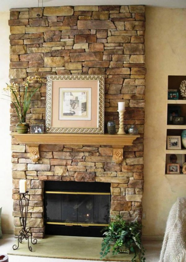 Style Stone Veneer Fireplace Costnice Fireplaces Firepits Medium