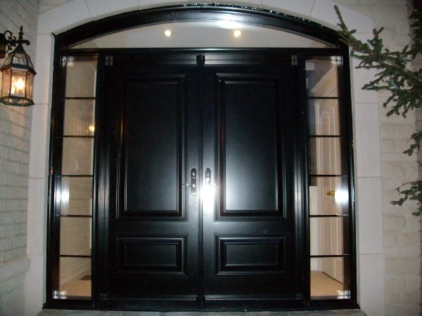 Style Tremendous Double Front Doors With Arch Transom Combined Medium
