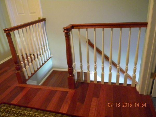 Style Wood Stairs And Rails And Iron Balusters Brazilian Cherry Medium
