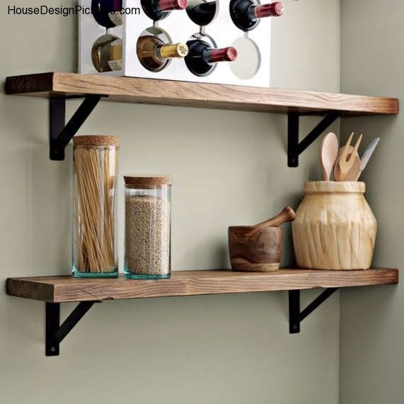 Style Wood Wall Shelves Housedesignpicturescom Medium