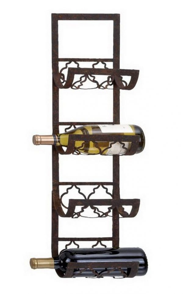 Tips 4bottle Wallmount Wine Rack Storage Holder Metal Kitchen Medium