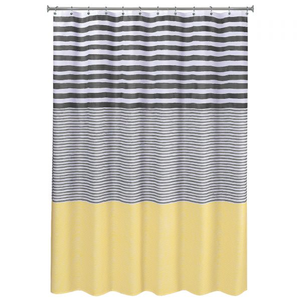 Tips Colormate Shower Curtain  Yellow Stripe Medium