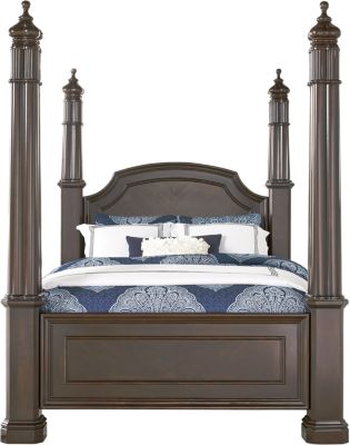 Tips Dumont Cherry 3 Pc Queen High Poster Bed Beds Dark Wood