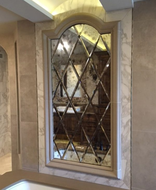Tips Luxurious Home Decoration Using Small Beveled Mirror Tiles Medium