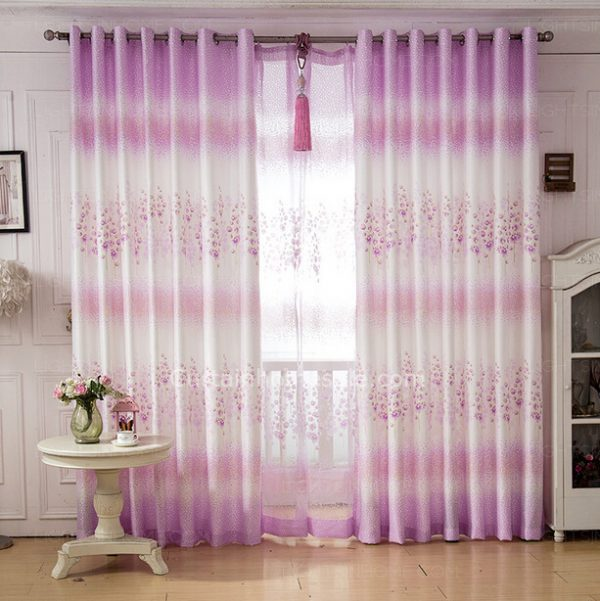 Tips Pastoral Purple Floral Pattern Girls Bedroom Curtains Medium