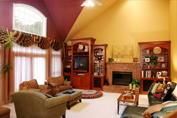 Tips Red Yellow Living Room Interior Wall Colors With Brown Medium