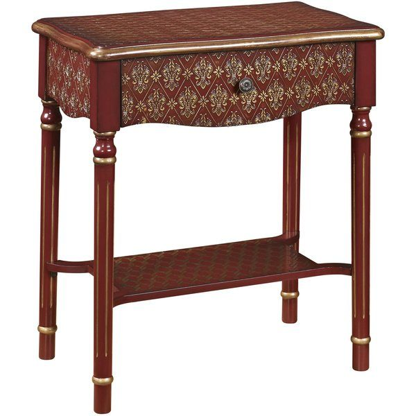 tips shop hand painted red and gold finish accent table on medium