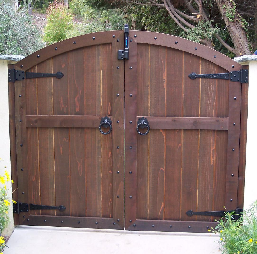 tips wood gates arched yard custom redwood seethrough