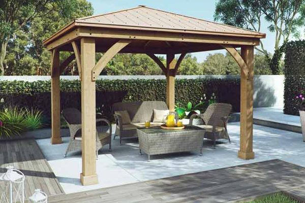 Tips Wood Gazebo With Aluminium Roof Medium