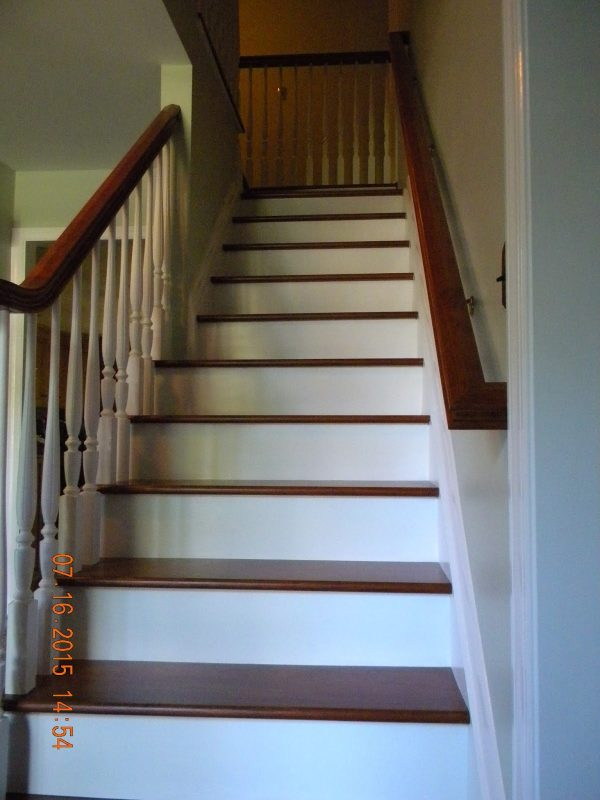 Tips Wood Stairs And Rails And Iron Balusters Brazilian Cherry Medium