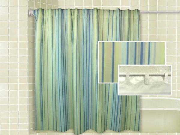 Top Blue And Yellow Striped Shower Curtainscurtain Medium