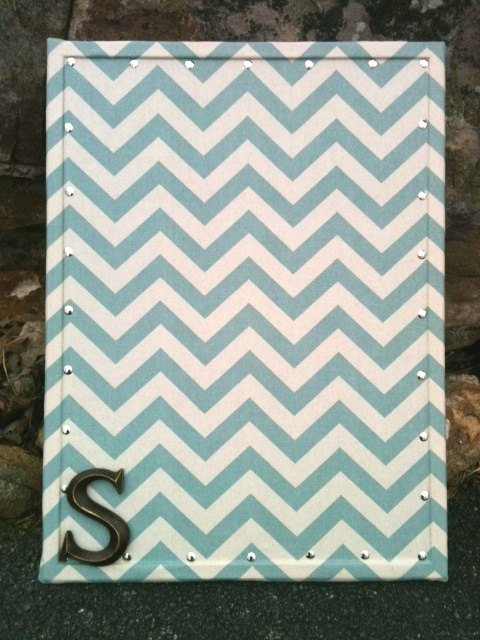 Top Fabric Covered Cork Board Vertical Blue Chevron Print 17 Medium