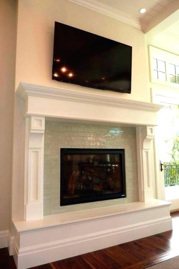 Top Glass Mosaic Tile Fireplace Surround Houzz Pertaining To Medium