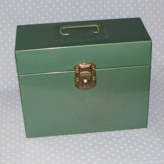 Top Metal Lock Box File Storage Vintage Industrial Green By Medium