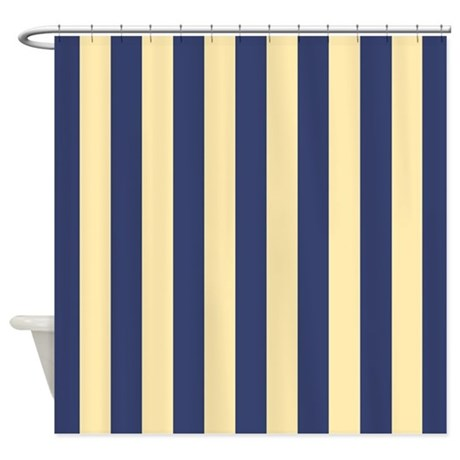 Top Navy And Yellow Stripes Shower Curtain By Showercurtainsworld Medium