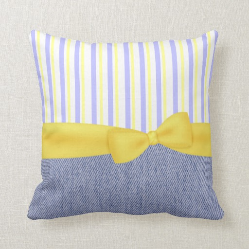 Top Pretty Blue And Yellow Accent Pillowzazzle Medium