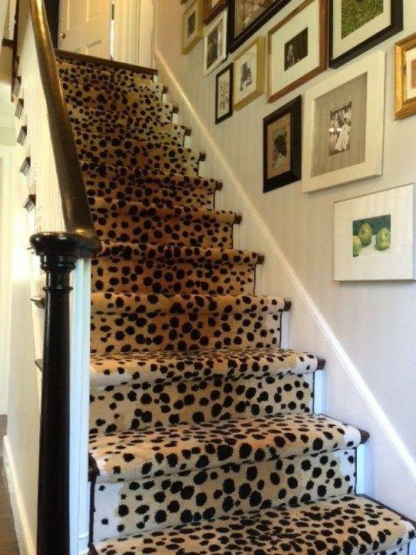 Top Stair Stair Design With Brown Leopard Runner Carpet Medium