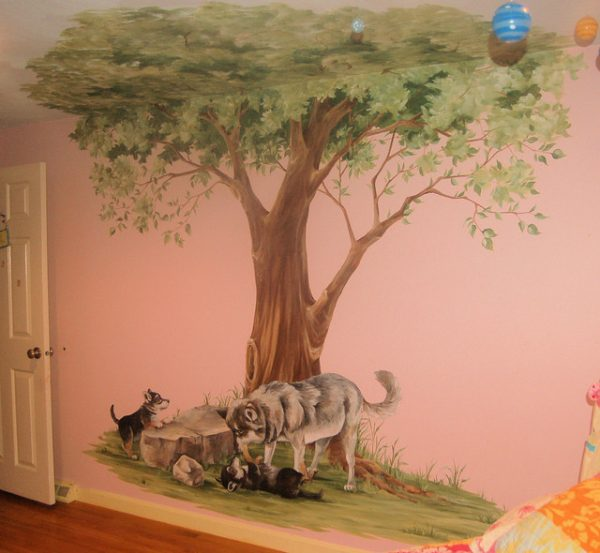 Top Tree Mural With Wolves Traditional Kids Boston By Medium