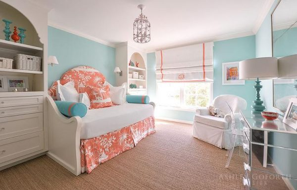 Top Turquoise Girls Bedroom With Orange Toile Daybed Medium