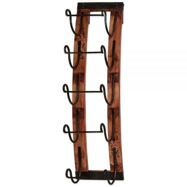 We Share 5 Bottle Hanging Wine Rack Metal Wood Wall Mounted Decor Medium