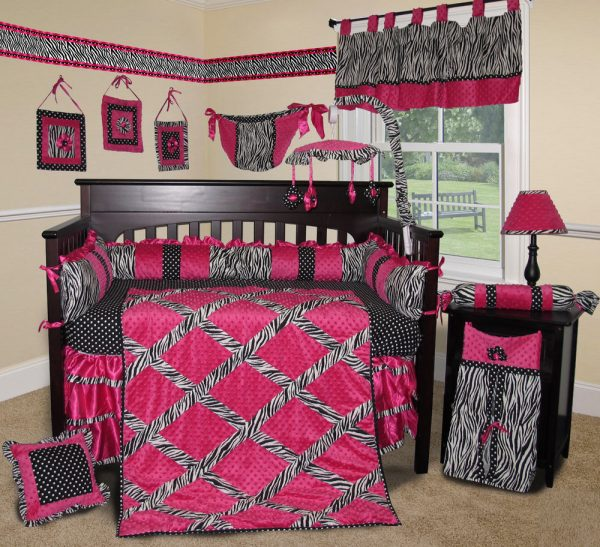 We Share Baby Boutique Hot Pink Zebra 14 Pcs Crib Bedding Set Medium