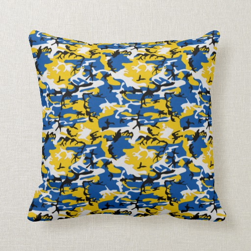We Share Blue And Yellow Camo Pillowszazzle Medium