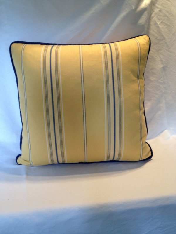 We Share Blue And Yellow Striped Pillow Cover Medium