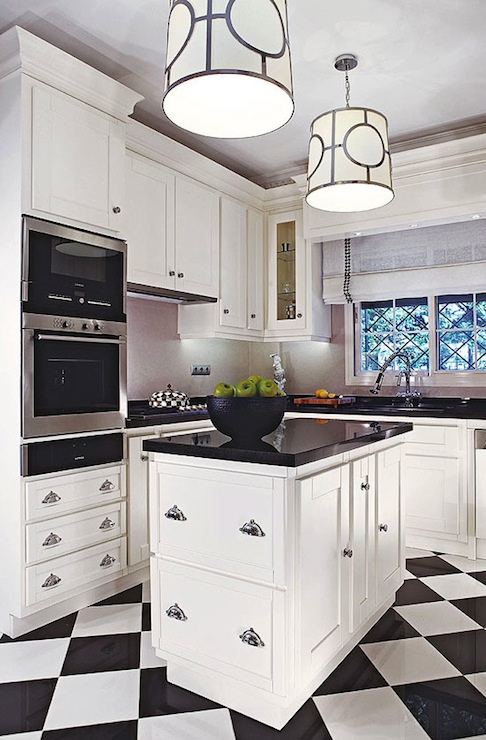 We Share Checkered Floor Contemporary Kitchen Traditional Home Medium