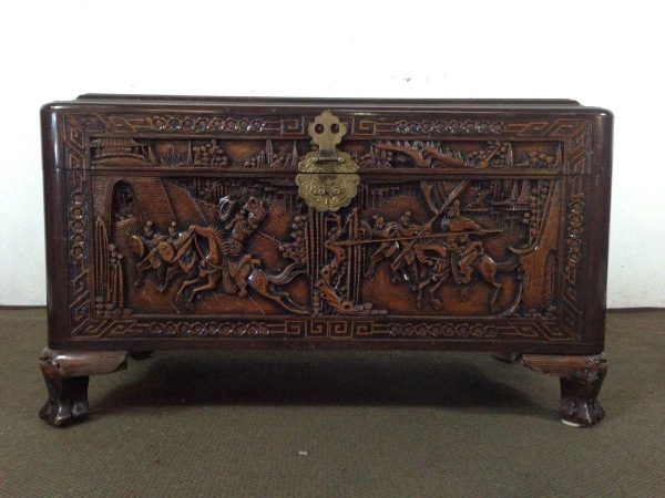 We Share Chinese Carved Teak And Camphor Wood Chest For Sale In Medium