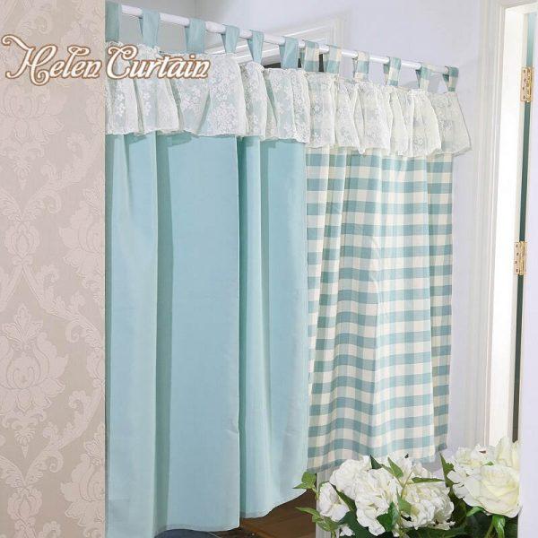 We Share Helen Curtain Set Japanese Style Plaid Short Lace Kitchen Medium