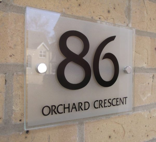 we share house number door sign plaque modern frosted glass effect medium