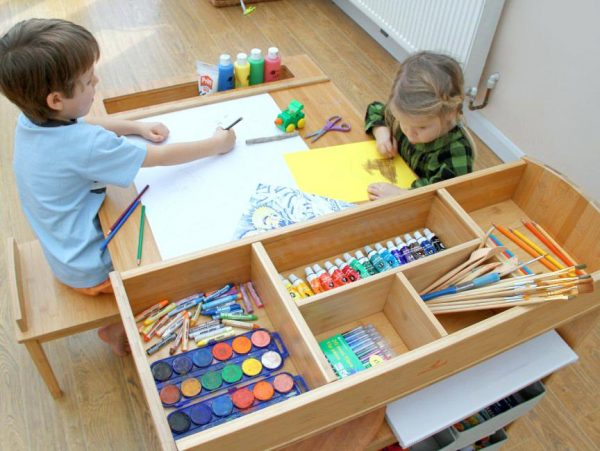 We Share Kid Art Tables With Storage Kids Drawing Table Drying Rack Medium