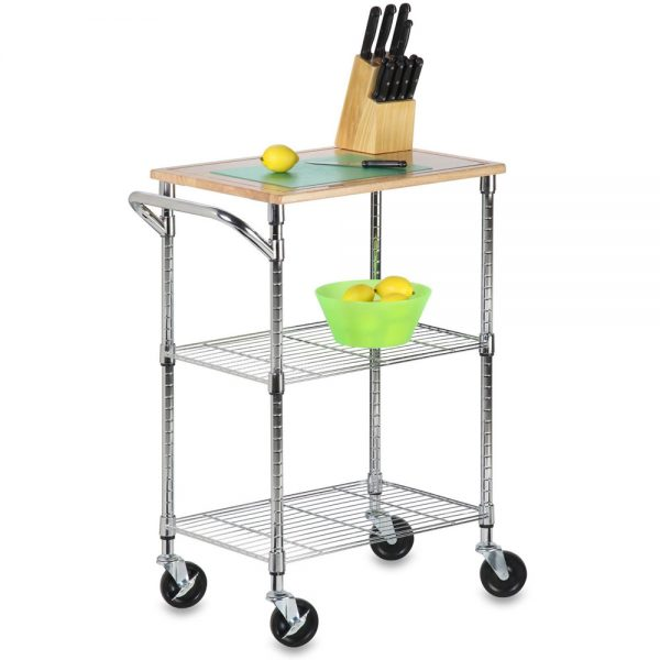 We Share Rolling Kitchen Cart Chrome In Kitchen Island Carts Medium