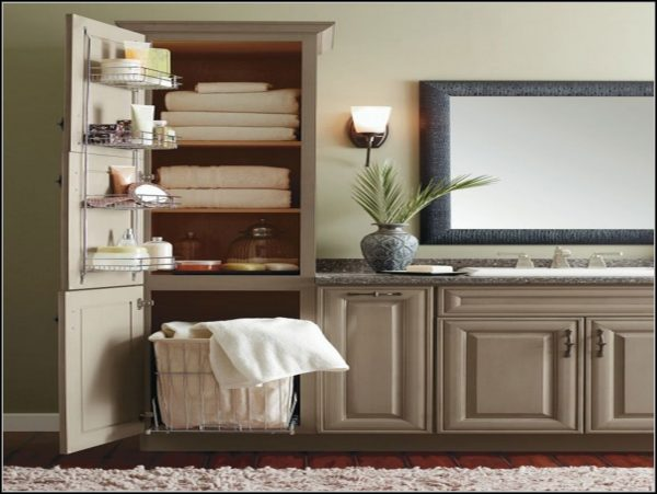 We Share Vanity Linen Cabinet With Hamper Cabinethome Medium