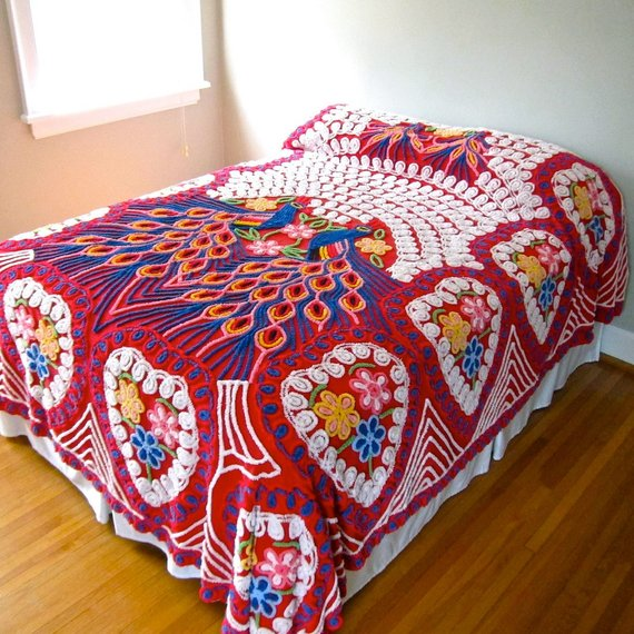 We Share Vintage Peacock Chenille Bedspread Red Double Peacock Medium