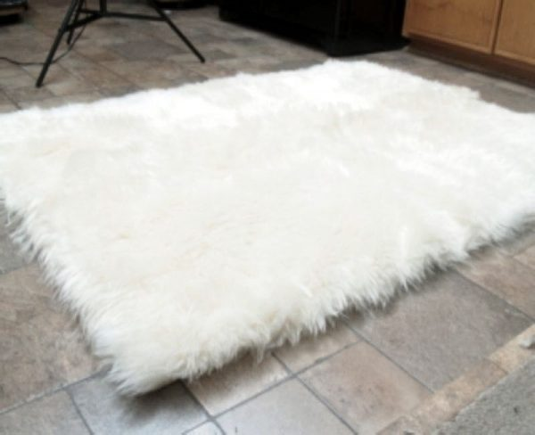 Browse Faux Fur Area Rug White Large Rugs   Carpets