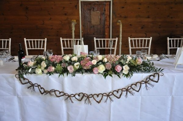 Clever Top Table Arrangement Full Of Hydrangeas Roses And Medium
