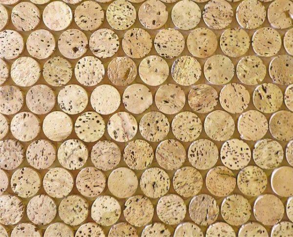 Corkdotz Cork Mosaic Penny Round Tile Eclectic Cork Medium