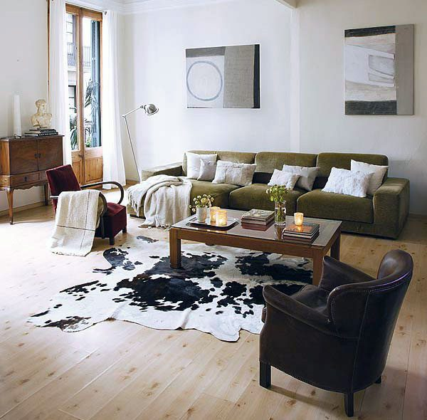 Cowhide Rug Living Room Beautify The Rooms With Stylish Medium