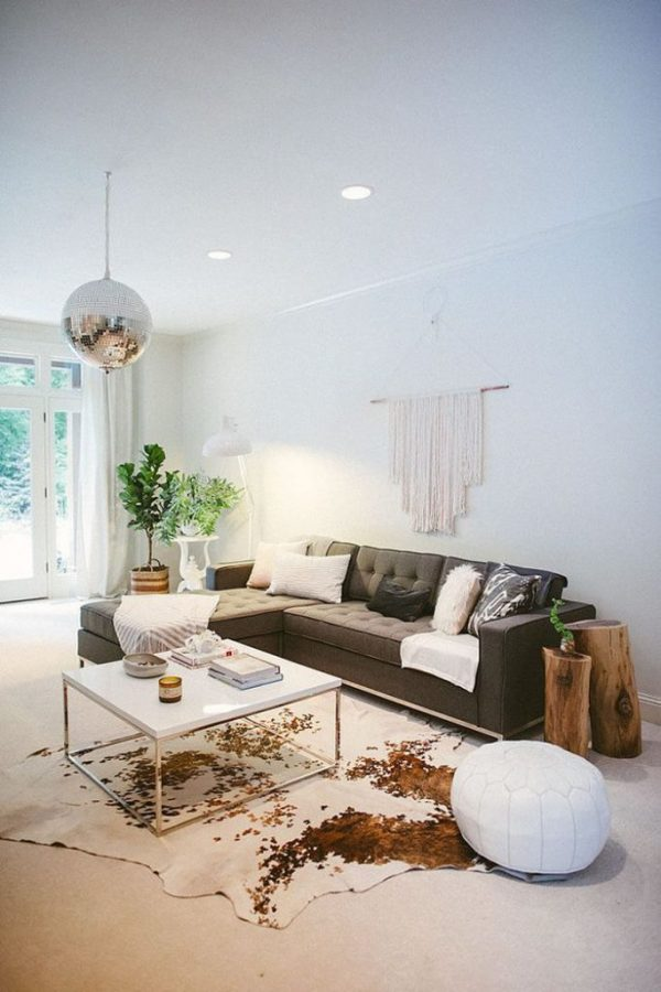 Decorating With Cowhide Rugs In Simple Deisgn Medium