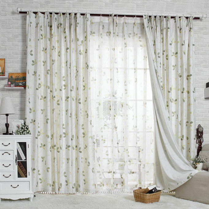 Example Of A Beautiful Floral Country Style Living Room Curtains