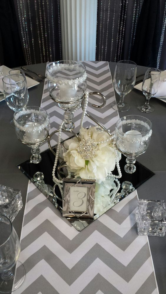 Example Of A Scroll Centerpiece With Square Mirror Tileparty Decor Medium