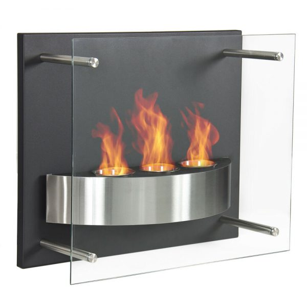 Inspiration Fireplace Wall Mount Gel Fuel Burner 3 Reservoir Glass Medium