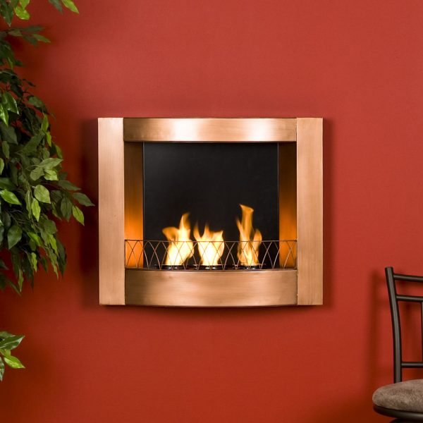 Looking Copper Finish Wall Mount Gel Fuel Fireplace Burns Clean To Medium