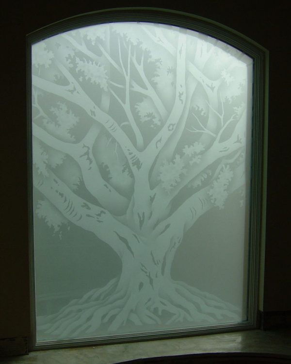 Looking Oak Tree Glass Window Etched Glass Rustic Design Medium