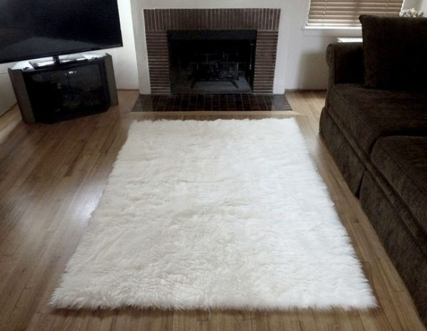 Our Favorite Super Plush White Faux Fur Area Rug From France Medium