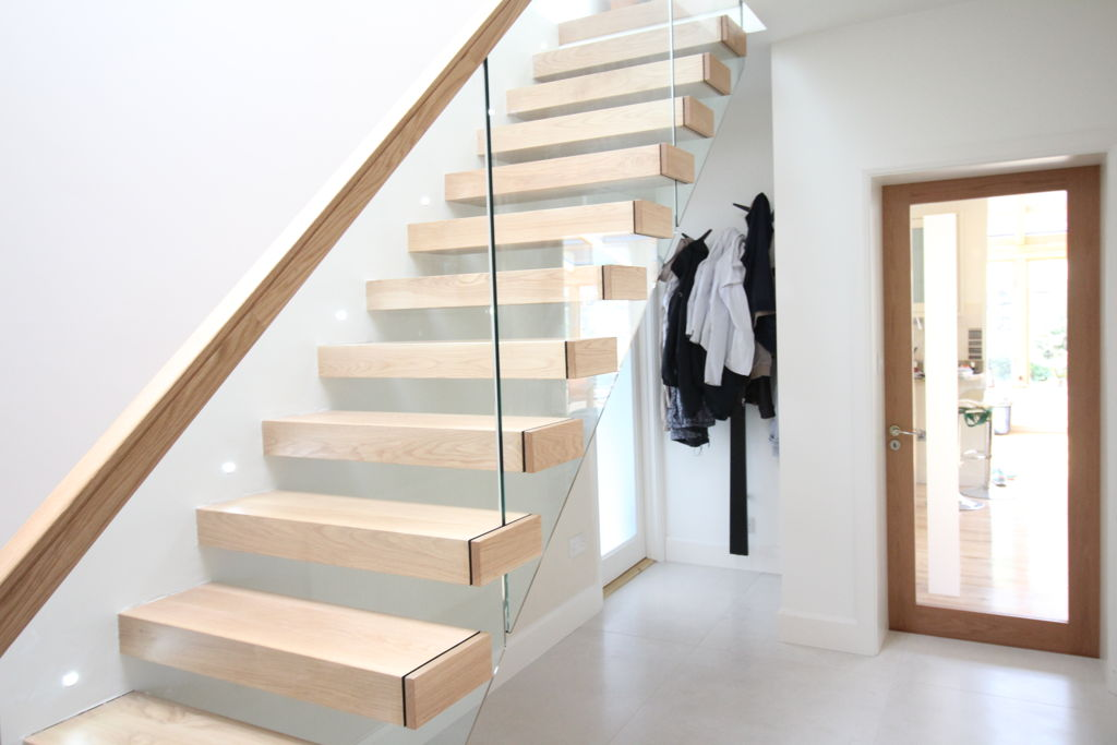 perfect dazzling wooden handrail satir with glass fence and