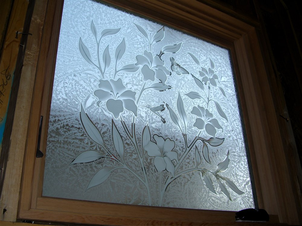 perfect hibiscus beauty glass window etched glass tropical style