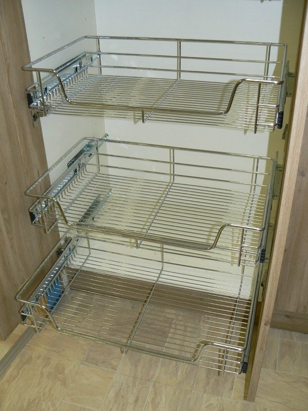 Best 3 X Pull Out Wire Basket Chrome Kitchen Bedroom Drawer Medium